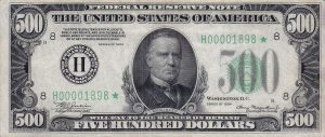 500-dollar federal reserve notes were officially discontinued in 1969.