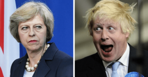 From THERESA MAY to BORIS JOHNSON: from the frying pan into the fire. Click to enlarge