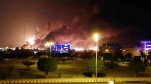 Abqaiq processing facility ablaze. Click to enlarge