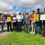 Parents protested outside Nottingham's Fernwood Primary School. Click to enlarge