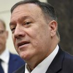 "Secretary of State Michael R. Pompeo fields questions Sept. 19 in Abu Dhabi, United Arab Emirates. Both Pompeo and Vice President Mike Pence have condemned an attack on Saudi oil facilities as ""an act of war."" (Associated Press) Click to enlarge"