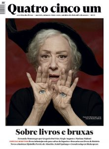 "Fernanda Montenegro is considered to be the ""greatest Brazilian actress of all times"". She recently appeared on the magazine Quatro Cinqo Um with the headline ""Sobre livros e bruxas"" which means ""About books and witches"". Appropriately enough, the entire photoshoot is all about witchcraft and occult elite symbolism. On this pic, she has eyes on her hands – a symbol associated with magick. Click to enlarge"