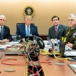 From left to right: National Security Adviser Robert O'Brien, Vice President Mike Pence, President Donald Trump, Secretary of Defense Mark Esper and Joint Chiefs of Staff US Army General Mark Milley and Brig General Marcus Evans are seen Saturday, Oct. 26, 2019, in the Situation Room of the White House. Click to enlarge
