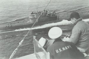 U234 surrendering to USS Sutton May 14, 1945, for escort to Portsmouth NH. Transport sub carried enriched uranium and other advanced Nazi technology. Click to enlarge