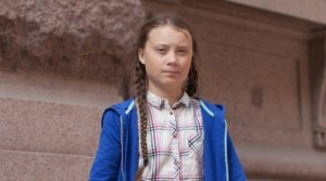 Greta Thunberg in front of the Swedish parliament in Stockholm, August 2018 – image: Wikipedia