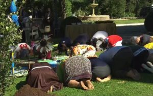 People bow to Pachamama during pagan rite in Vatican Gardens prior to opening of Amazon Synod, Oct 4, 2019. Click to enalrge