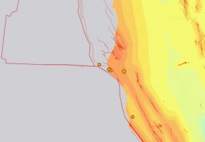 Research shows Cascadia quakes sometimes trigger San Andreas Fault earthquakes. Today four earthquakes hit near the Mendocino Triple Junction where Cascadia and San Andreas meet. Map via USGS