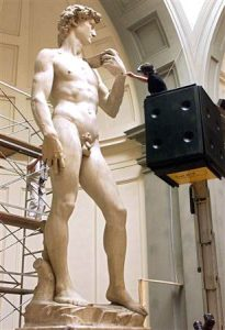 We are made in the image of God. Michelangelo's David gets a dusting. Click to enlarge