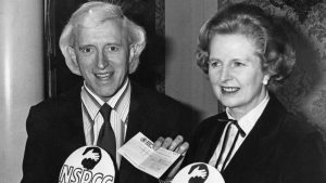 Prime Minister Margaret Thatcher pushed for a knighthood for serial child sex abuser Jimmy Savile, seen here together at a 1980 fundraising event for the National Society for the Prevention of Cruelty to Children. Click to enlarge