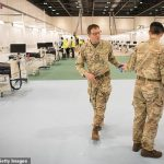 Military personnel work inside the ExCel centre in London on March 31, 2020, which has been transformed into a field hospital but remains empty despite its 3,600 bed capacity. Click to enlarge