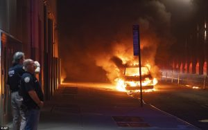 New York a vehicle burns near New Yorks Union Square on Saturday night. Click to enlarge
