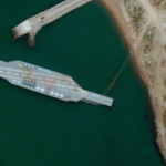 A satellite image of the mock aircraft carrier. Click to enlarge