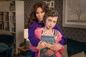 The suggested link may reignite controversy over British programmes including the ITV drama Butterfly. Inspired by the pro-trans charity Mermaids, it was accused of encouraging families to push children towards gender-change treatment. Anna Friel and Callum Booth-Ford are pictured above in ITV's Butterfly. Click to enlarge