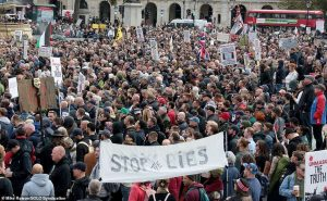 At least 15,000 people cram Trafalgar Square in rally against lockdown