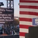 Joe Biden reads from a giant teleprompter at another sparsely attended rally
