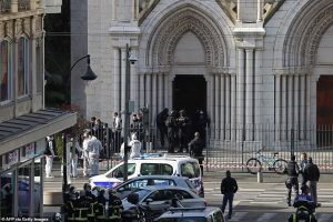 """Police described the scene inside the Notre-Dame basilica in Nice city centre as a """"vision of horror"""". Click to enlarge"""