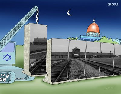 Winning cartoon by Moroccan Derkaoui Abdellah in the Holocaust cartoon contest held in Iran recently.