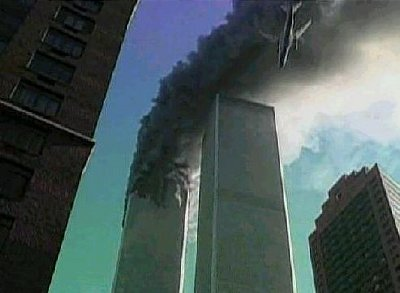 Boeing 767 moments before it slammed into the WTC south tower.
