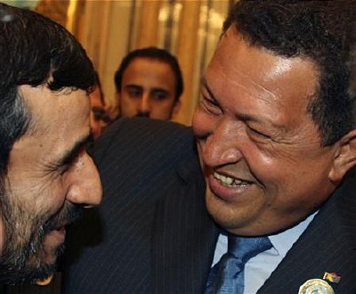 Chavez laughs with Ahmadinejad at the 3rd Opec Summit on Nov 18, 2007
