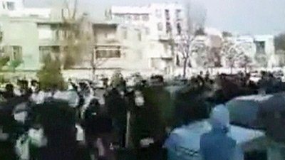 Above: what Sky News claims is 'a video grab purporting to show an anti-government march' in Tehran on Thursday, though given the quality it could be anything