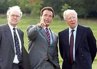 Left to right: billionaire Warren Buffet, Arnold Schwarzeneggar and Jacob Rothschild on Rothschild's estate, shortly before Arnold became Governor of California.