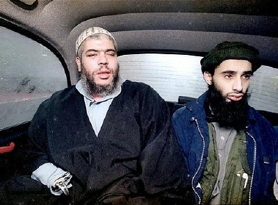 Abu Hamza and Haroon Aswat in London cab