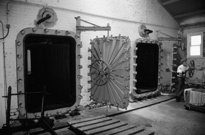 The gas chambers used to delouse and disinfect clothing, bedding and other personal belongings.