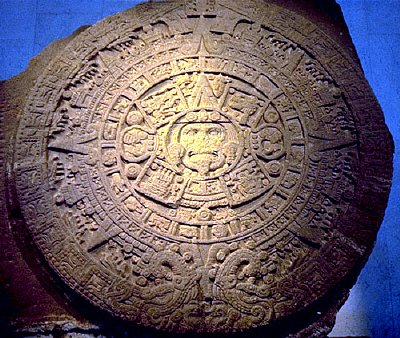 The ancient stone said to be carved under the guidance of the legendary 'Feathered Serpent' or  Quetzal-Coatl. Currently housed in Mexico City the stone is said to depict the four worlds that mankind must live through.