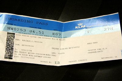 Boarding pass for NWA Flight 253 from Amsterdam
