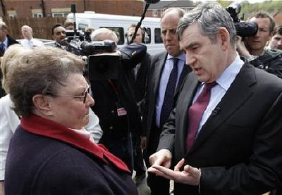 Prime Minister Gordon Brown speaks with resident Gillian Duffy.
