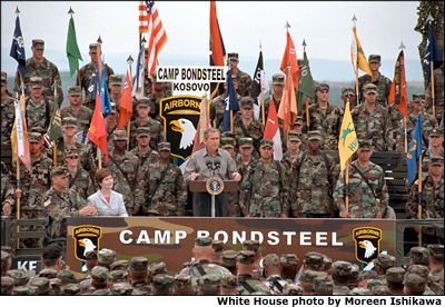 President Bush in Camp Bondsteel July, 2001