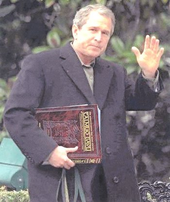 The 'photoshopped' photo of President George W. Bush clutching the Talmud.