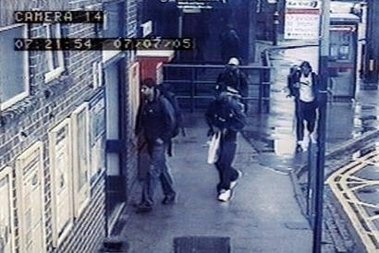 CCTV footage of the alleged bombers passing through Luton Station