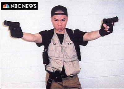 After shooting his first victims, gunman Seung-Hui Cho sent video footage and photographs of himself to US TV network NBC News before going on to kill another 30 more.