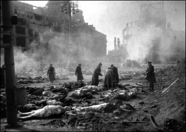 The thousands of bodies had to be cremated after the air raid, in public, on Dresden's Altmarkt square