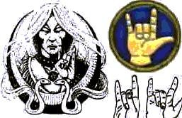 Above, from the Satanic Bible: The 'Satanic Salute', Horned Hand or The Mano Cornuto is a signal of allegiance between members of Satanism to their 'horned god', a sign of recognition and allegiance.