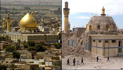 The Golden Dome Mosque: before and after.