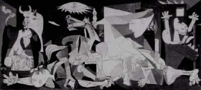 Above: Picasso's 'Guernica'. As the article below reveals, the painting housed in the UN headquarters, has now been covered.