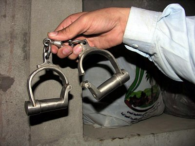 Handcuffs that were cut from Hayatullah's body.