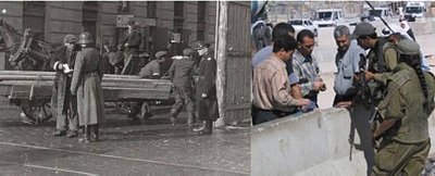 Checking papers in Warsaw during WWII and in modern day Gaza