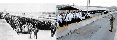 Jews in transit during WWII in contrast to modern day Palestinians