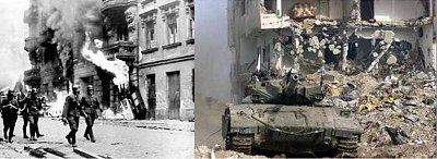 Nazi troops in Warsaw WWII and Israelis in Gaza today