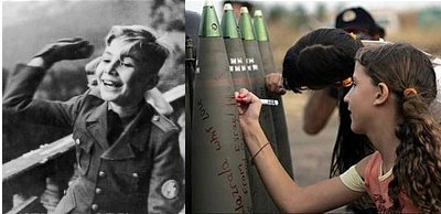A young Kibbutz girl girl writes messages on artillary shells destined for Palestinians (right)
