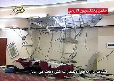 The scene in the aftermath of the bombing at the Hyatt Hotel, Amman. Again, note the damaged ceiling: was the same method used here too?