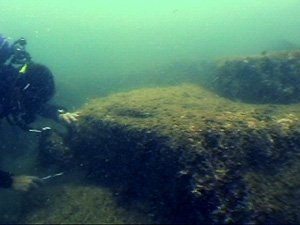 Divers found stone blocks and what appeared to be masonary