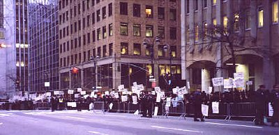 Orthodox Jews stand in protest outside the Israeli Consulate in New York, February, 2002