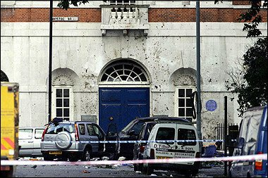 Blood stains the walls in the area around the wreckage of a bus, on the junction of Tavistock Square and Woburn Place Euston, London, the bus exploded after a bomb went off onboard.