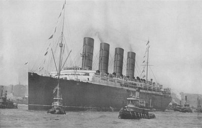 The Lusitania prepares to set sail