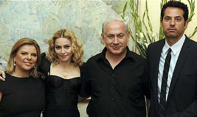 Madanna with Netanyahu and her 'partner' Jesus Luz (right)