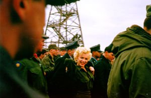 Marilyn Monroe on a morale boosting tour of a US military base